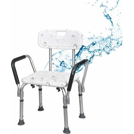 Bakaji Sgabello Sedile da doccia con Schienale e Braccioli estraibili Sedia da vasca Ausilio supporto Anziani