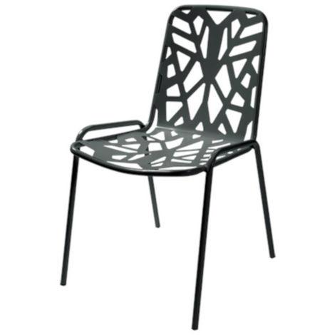 Sedia da esterno fancy leaf 1, struttura, seduta e schienale in acciaio pre zincato, colore antracite
