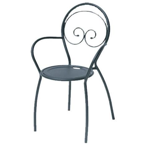 Sedia da esterno fiona 2 con braccioli, struttura, seduta e schienale in acciaio pre zincato, colore antracite