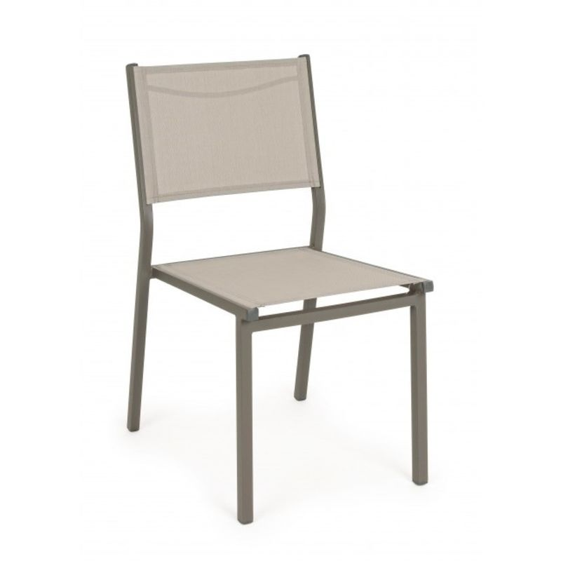 Tessuto Per Sedie Da Giardino.Sedia Da Esterno Giardino Alluminio E Tessuto Hilde Tortora Set 4
