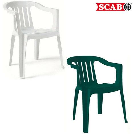 Sedie Scab Da Giardino.Sedia Da Esterno Giardino Resina Impilabile Monoblocco Verde Bianca Giada Scab