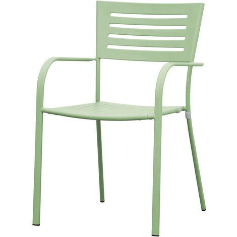 Sedie Da Esterno Con Braccioli.Sedia Da Esterno Giardino Taormina Verde In Ferro Con Braccioli