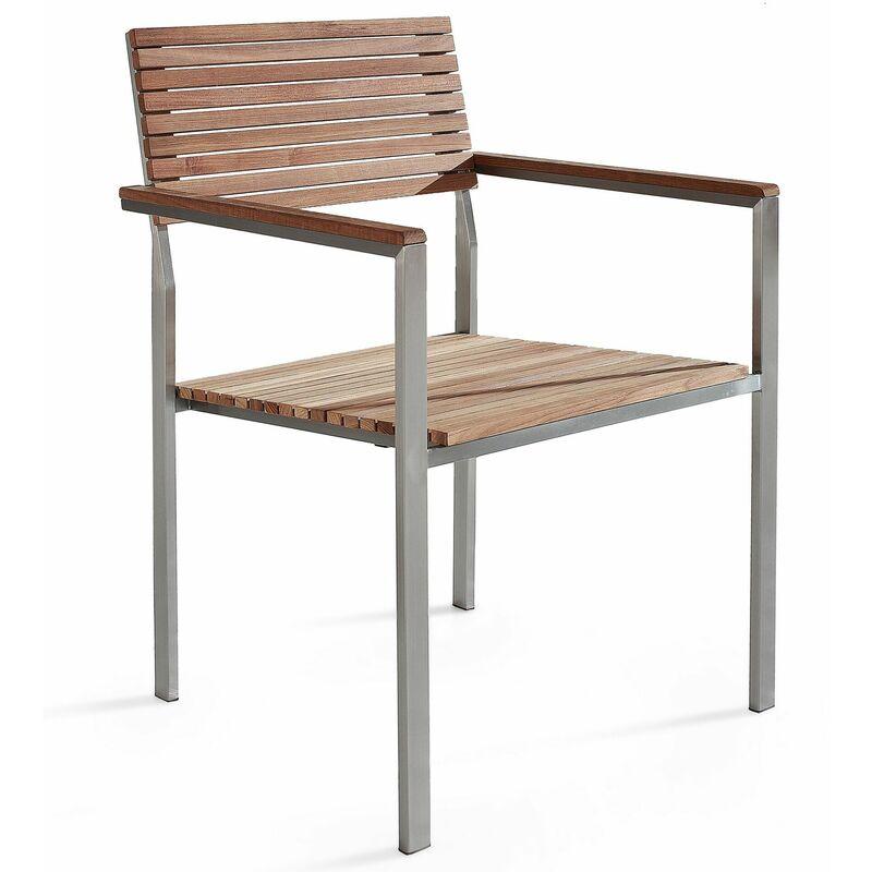 Sedia da giardino in acciaio e legno di teak VIAREGGIO