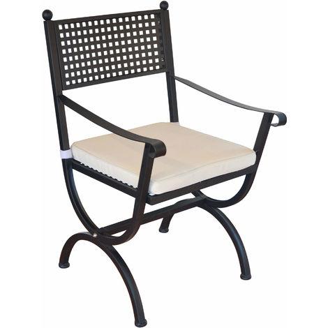 Sedie Ferro Da Giardino.Sedia Da Giardino In Ferro Con Cuscino Vorghini Lugano Nera