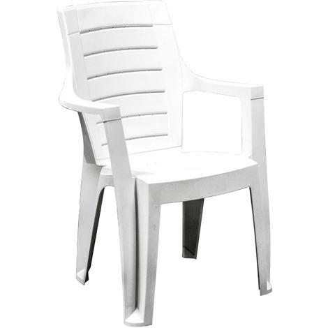 Sedia in resina bianca impilabile plastica da giardino per esterno VEG152BI