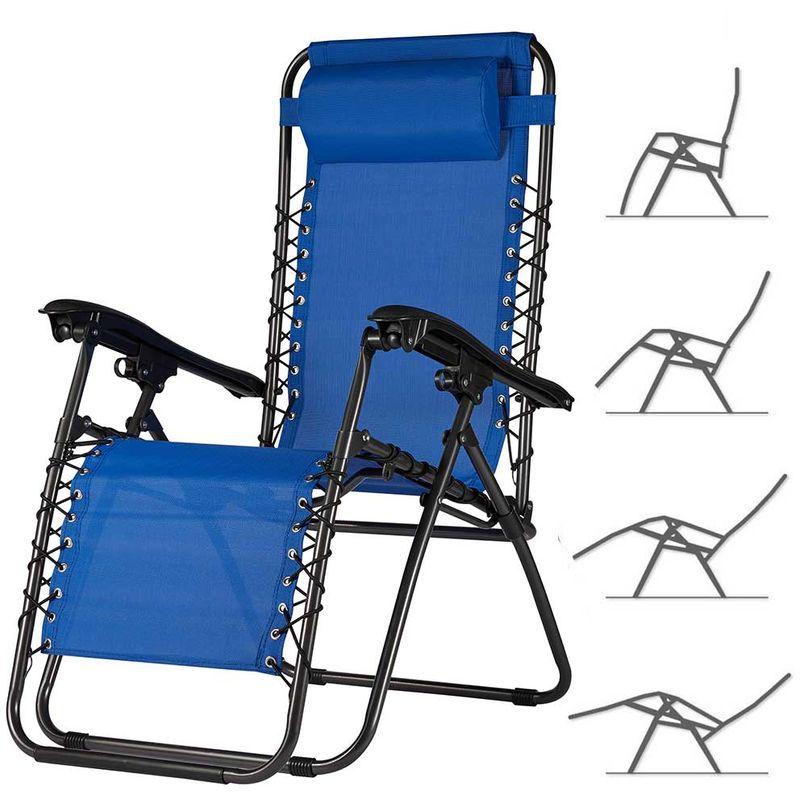 Sedia da Giardino Poltrona Relax Pieghevole Gravita Zero Acciaio Texilene Blu - BAKAJI