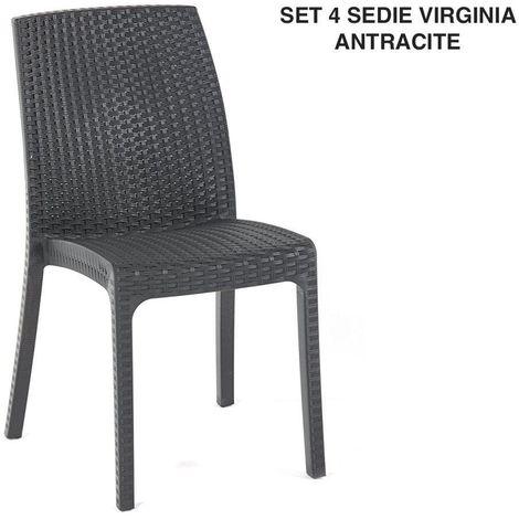 Sedie Da Esterno In Plastica.4er Set Bianco Monoblock Giardino Sedia In Plastica Sedia Da