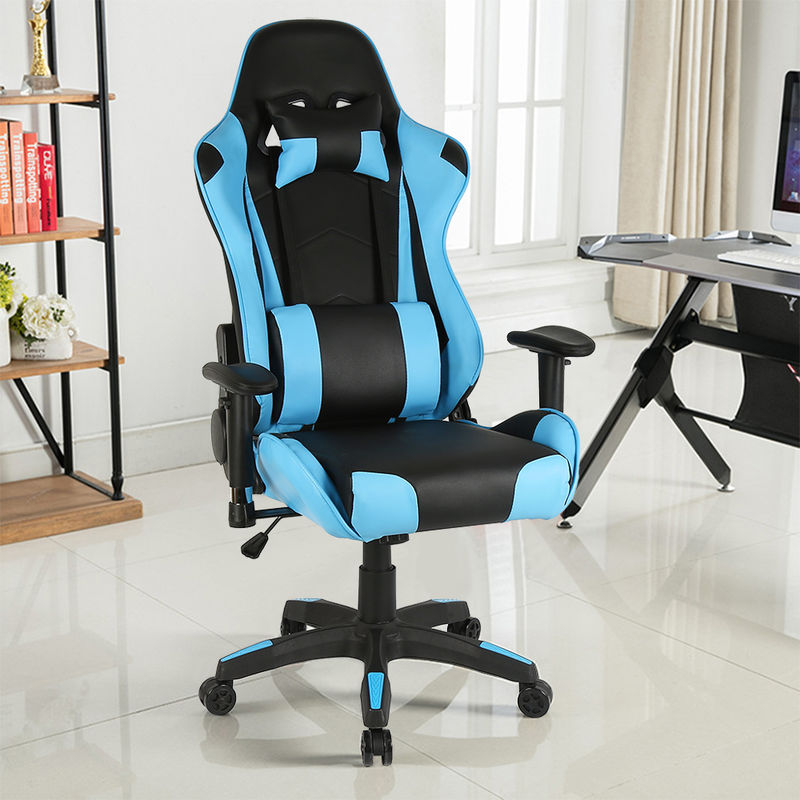 Bianco-2 Sedia Gaming Ufficio Computer Sedie da Girevole Ergonomica Poltrona di inclinazione Cuscino Lombare in Pelle PU