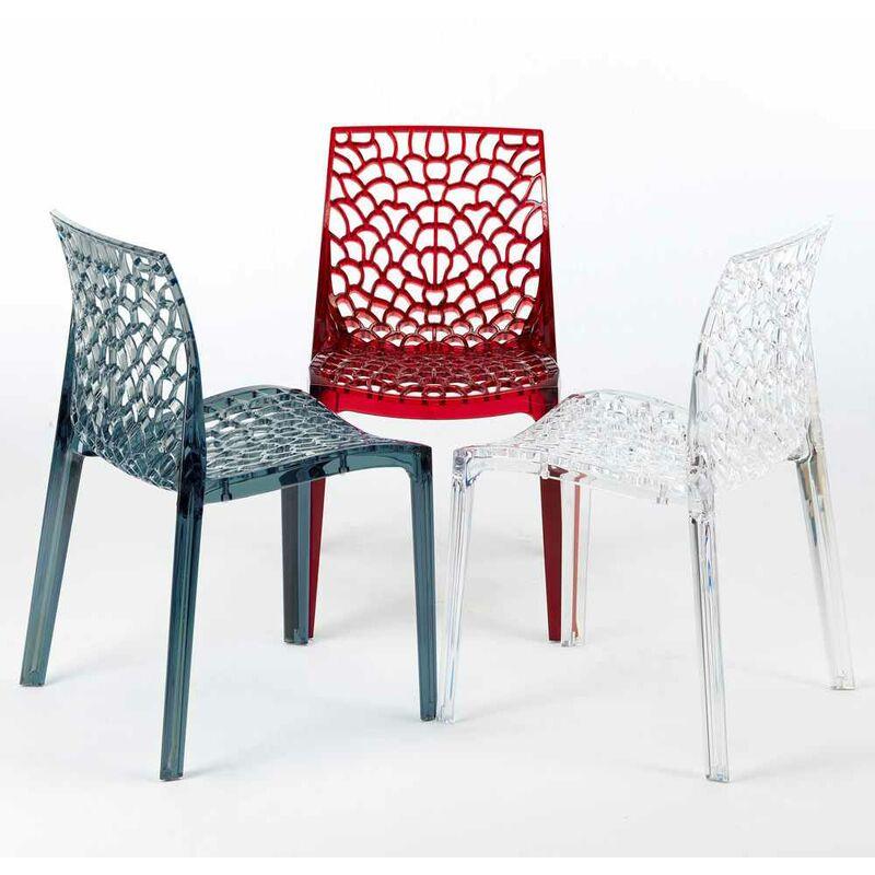 Sedie policarbonato trasparente cucina bar GRUVYER Grand Soleil esterni ed interni giardino | Trasparente Rosso