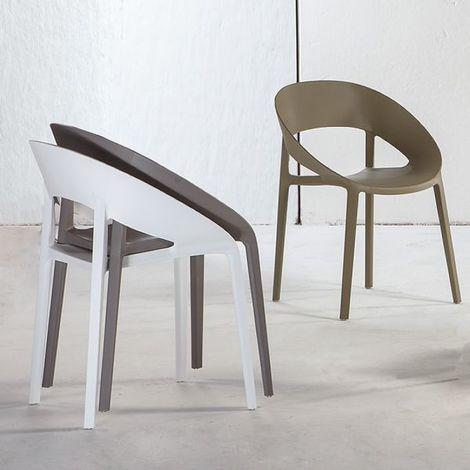 Sedie Polipropilene Design.Sedia Impilabile In Polipropilene E Fibra Di Vetro Anche Per Esterno