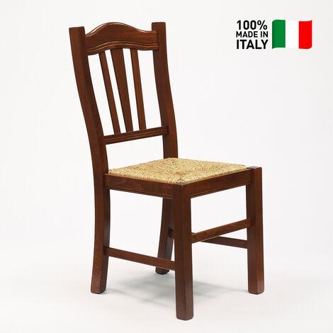 Sedia in legno con seduta impagliata per cucina e sala da ...