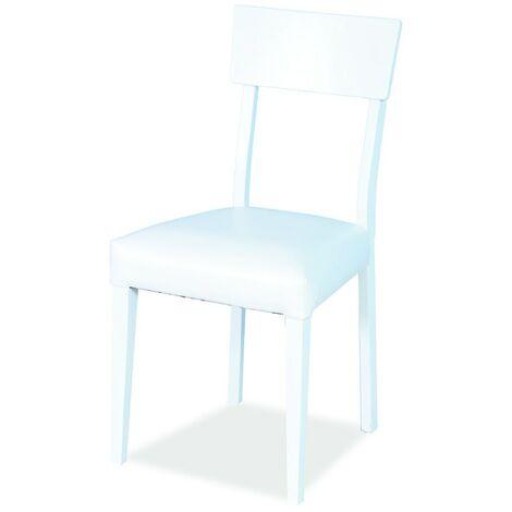 Sedia in legno di faggio bianca seduta imbottita in ecopelle 46x45xh.84 cm
