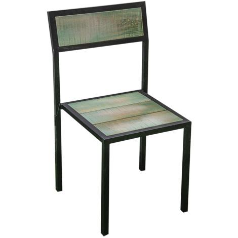 Sedie In Ferro E Legno.Sedia In Legno E Ferro Nero E Verde Da Interno 8027458066220