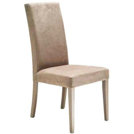 Sedia in legno in tinta rivestita in ecopelle vintage beige chiaro 47x47xh.101 cm
