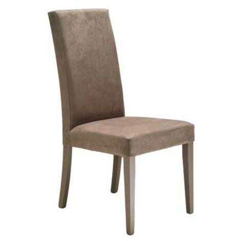 Sedia in legno in tinta rivestita in ecopelle vintage cappuccino 47x47xh.101 cm