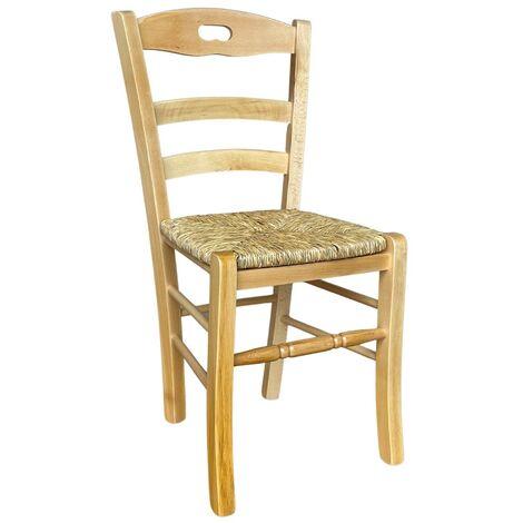 Sedia in Legno massello con Seduta in Paglia in Tinta Naturale Modello Loris con poggiapiedi Arrotondato Nuovo già Montato