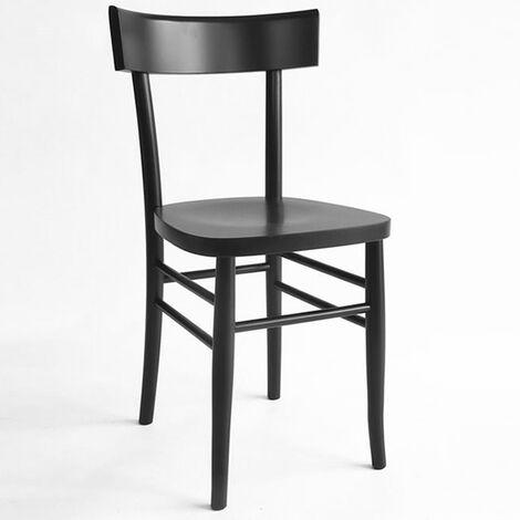 Sedia in legno massello laccata nero vintage milano