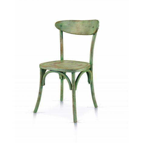 Sedia in legno verde consumato