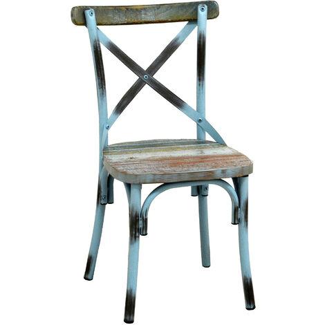 Sedie Metallo E Legno.Sedia In Metallo E Legno Adami Azzurro Antico