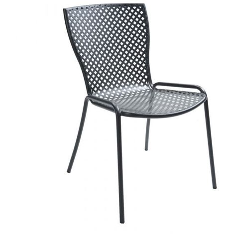Sedia in metallo, impilabile, per giardino, Grigio ...