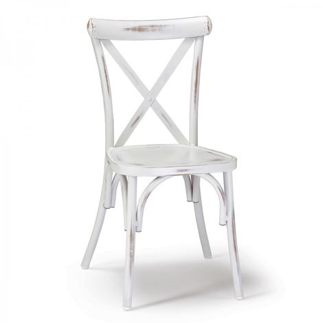 Sedia in stile Shabby Chic in metallo colore bianco anticato GS 972