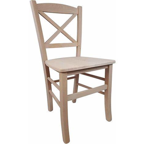 Sedute Per Sedie Legno.Sedia Modello Croce In Legno Di Faggio Grezzo Da Verniciare Con Seduta In Legno