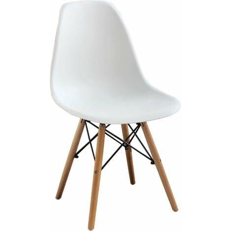 Sedia moderna di design in abs bianca con gambe in legno for Sedia bianca moderna