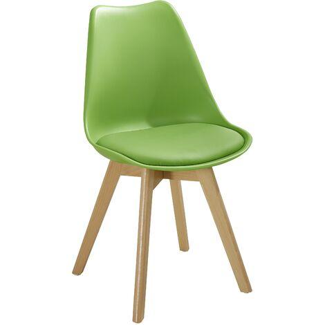Sedia moderna in polipropilene e legno linea Soft verde ...