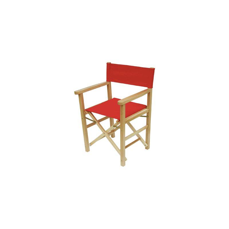 Sedia pieghevole Capri in legno Colore fusto - Nero, Colore tessuto - Rosso