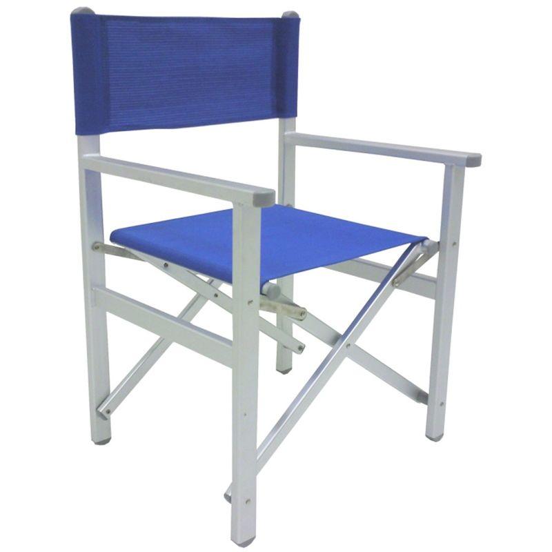 Sedia pieghevole da regista prendisole blu lusso in alluminio antiruggine per mare campeggio spiaggia stabilimento piscina giardino