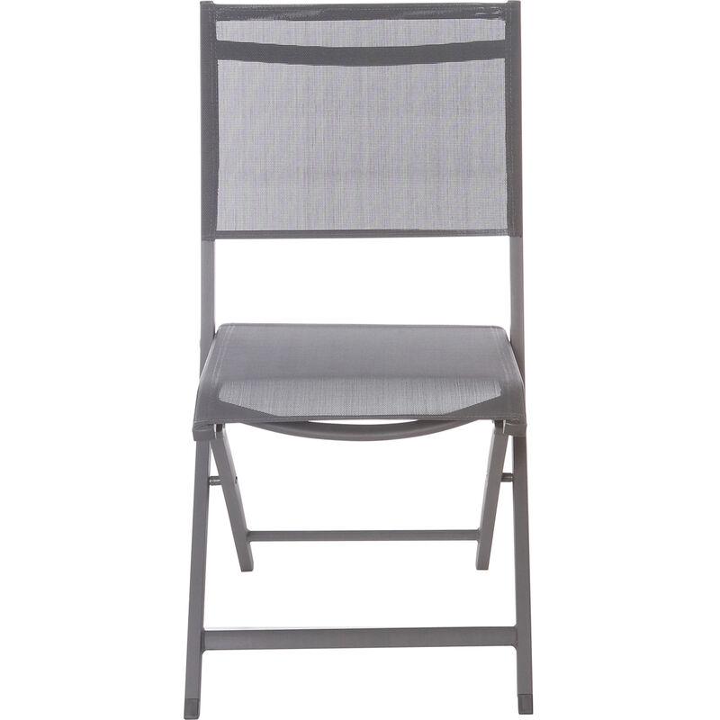 KASANOVA Sedia Pieghevole Per Giardino In Alluminio E Textilene, Da 60x88x47 Cm Grigio
