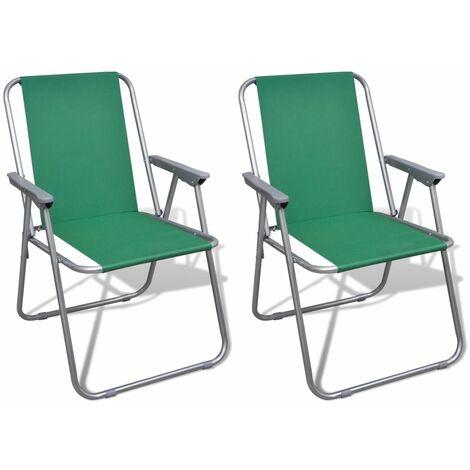 Sedie Da Giardino Pieghevoli.Sedia Pieghevole Set 2 Pezzi Sedie Da Esterno Verde