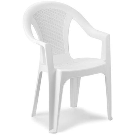 Sedie Plastica Impilabili Economiche.Sedia Poltrona Impilabile In Plastica Resina Bianca Per Esterno