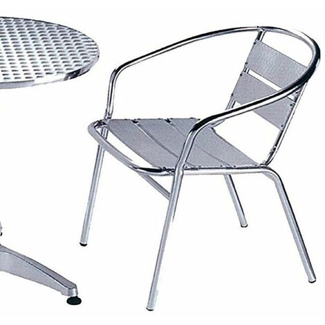 Sedie Da Esterno Con Braccioli.Sedia Poltrona In Alluminio Con Braccioli Da Tavolo Bar Pub Per