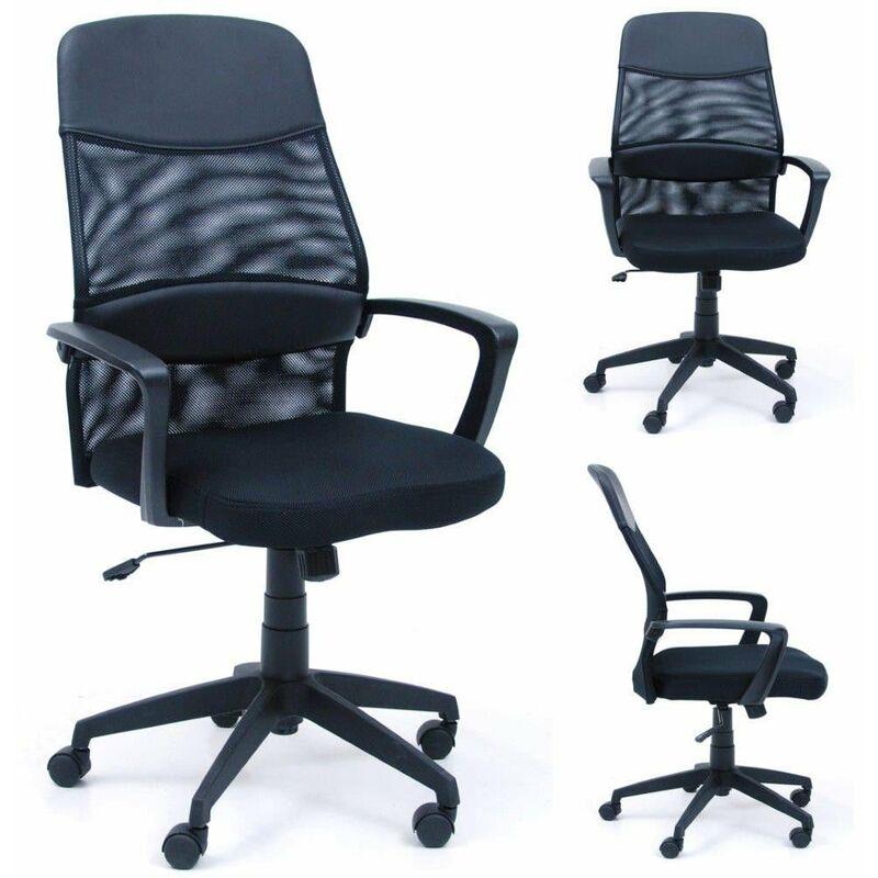 Sedia poltrona per ufficio mod. Network con braccioli e pompa a gas colore Nera - SAL MAR