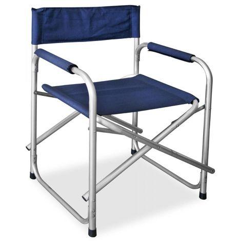 Sedia Regista Pieghevole Alluminio.Sedia Poltrona Regista Pieghevole Telaio In Alluminio Anodizzato Tela Blu Resistente In Pvc Per Giardino Mare Campeggio Pic Nic Richiudibile