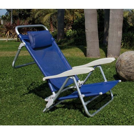 Sedia A Sdraio Alluminio.Sedia Poltrona Sdraio Alluminio Reclinabile Con Braccioli E Cuscino