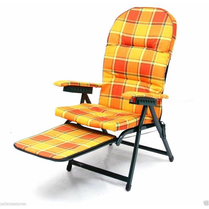 Sedia poltrona sdraio mod Loredana cotone schienale regolabile con carrello - SAL MAR