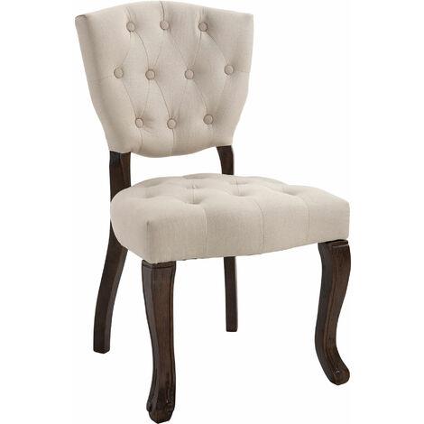 Sedia Pranzo in Tessuto e Legno scuro Stile Vintage Poltroncina vari colori
