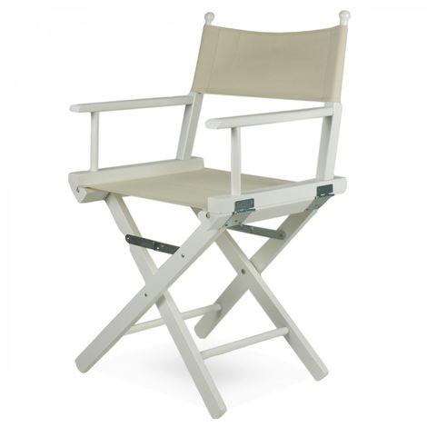 Sedie In Legno Laccate Bianco.Sedia Regista In Legno Laccato Bianco Con Seduta In Tessuto Regista P