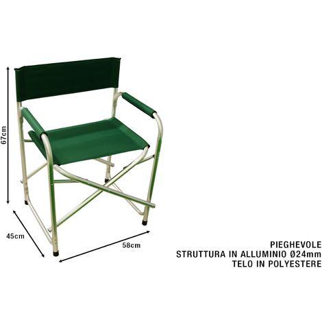 Sedia Regista Alluminio Offerte.Sedia Regista Pieghevole Con Telaio In Alluminio Cm 58x45x67h Verde
