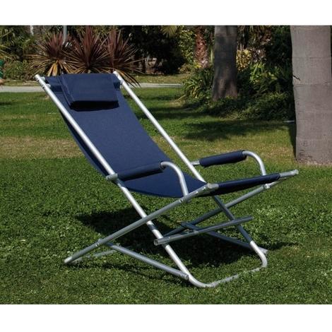 Sedia Sdraio In Alluminio.Sedia Sdraio A Dondolo In Alluminio Con Braccioli E Con Cuscino Blu Papillon