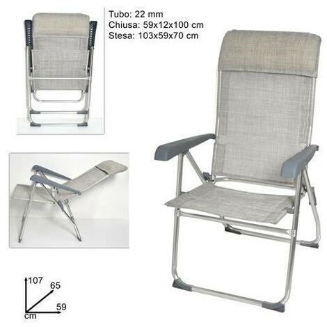 Sedie Sdraio Alluminio Con Poggiapiedi.Sedia Sdraio Alluminio