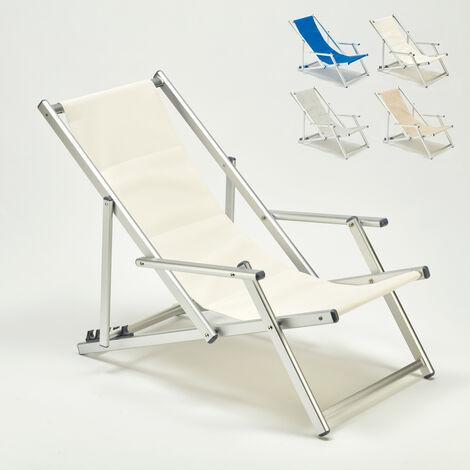 Sedie A Sdraio Per Spiaggia.Sedia Sdraio Mare Con Braccioli Alluminio Piscina Riccione Lux