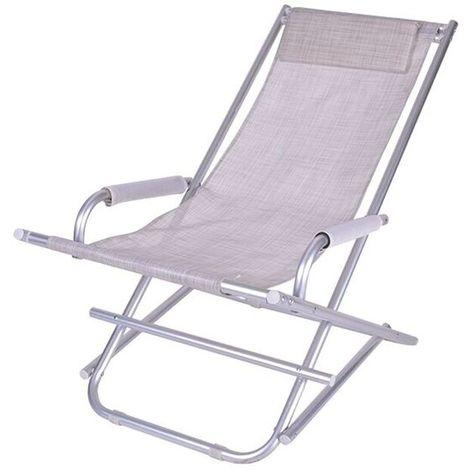 Sedia A Sdraio Pieghevole.Sedia Sdraio Pieghevole A Dondolo Mare In Alluminio E Textilene