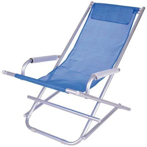 Sdraio Pieghevoli Da Spiaggia.Sedia Sdraio Pieghevole A Dondolo Mare In Alluminio E Textilene Enrico Coveri Vari Colori