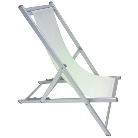 Sedia sdraio pieghevole prendisole bianca lusso in alluminio antiruggine per mare campeggio spiaggia stabilimento piscina giardino