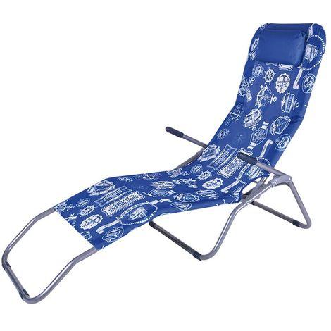 Sedia Sdraio Relax.Sedia Sdraio Relax Dondolina Pieghevole Basculante Blu Con Cuscino Poggiatesta Enrico Coveri Garden Varie Fantasie
