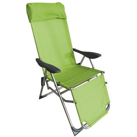 Sedia A Sdraio Con Poggiapiedi.Sedia Sdraio Spiaggina Pieghevole In Alluminio 5 Posizioni Con Poggiapiedi Mela Verde A0071262 0