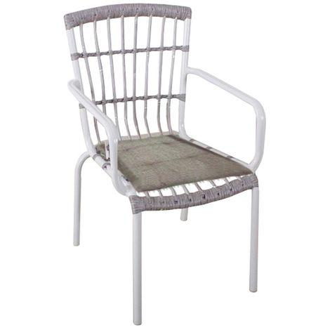 Sedia Design Alluminio.Sedia Vintage Da Esterno In Alluminio Bianca Poltrona Design Champagne 531254fr